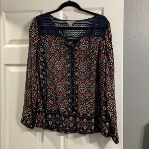 Maroon/red and navy and cream blouse